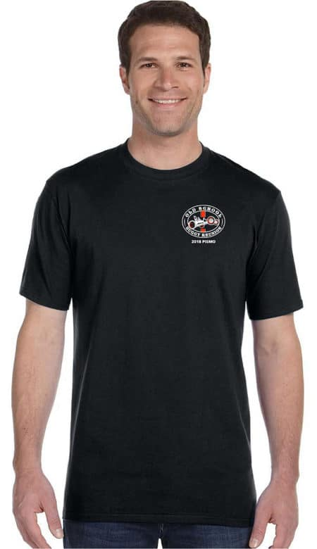 Men black short sleeve tshirt with logo on front