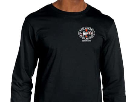 Men black long sleeve tshirt with logo on front