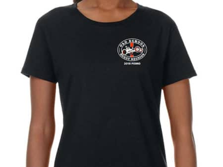 Woman black short sleeve tshirt with logo on front