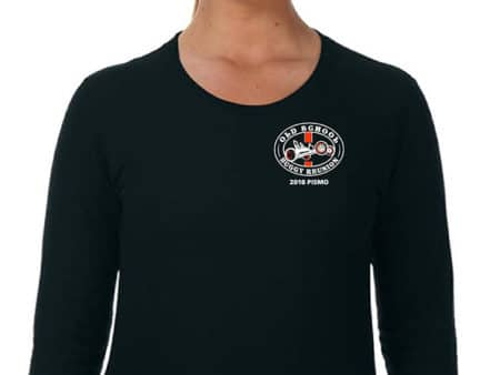 Woman black long sleeve tshirt with logo on front